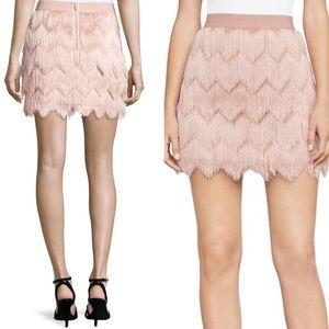 BCBGMAXARIA Modi Fringe Bare Pink Mini Skirt
